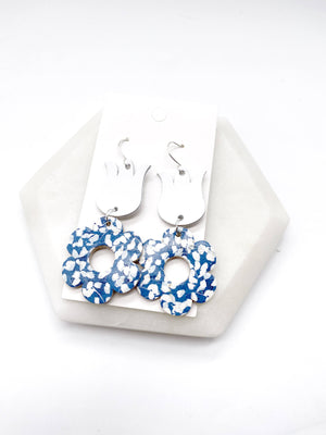 Blue Tulip Leather Earrings