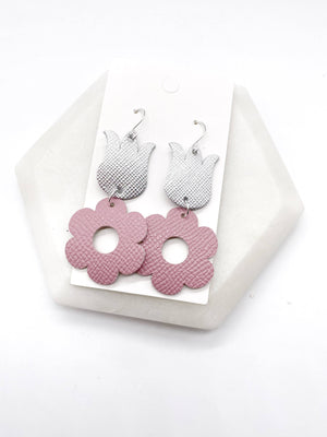 Pink Tulip Leather Earrings
