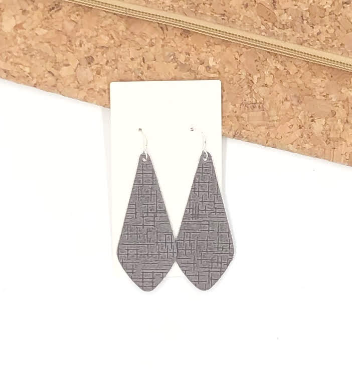 The Em Grey Etched Leather Earrings