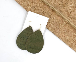Olive Green Cork Bonded to Leather Teardrop Earrings