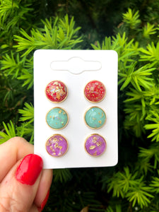 Bright Colors Gold Flake Stud Trio Earrings