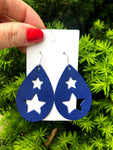 Blue Star Cutout Leather Earrings