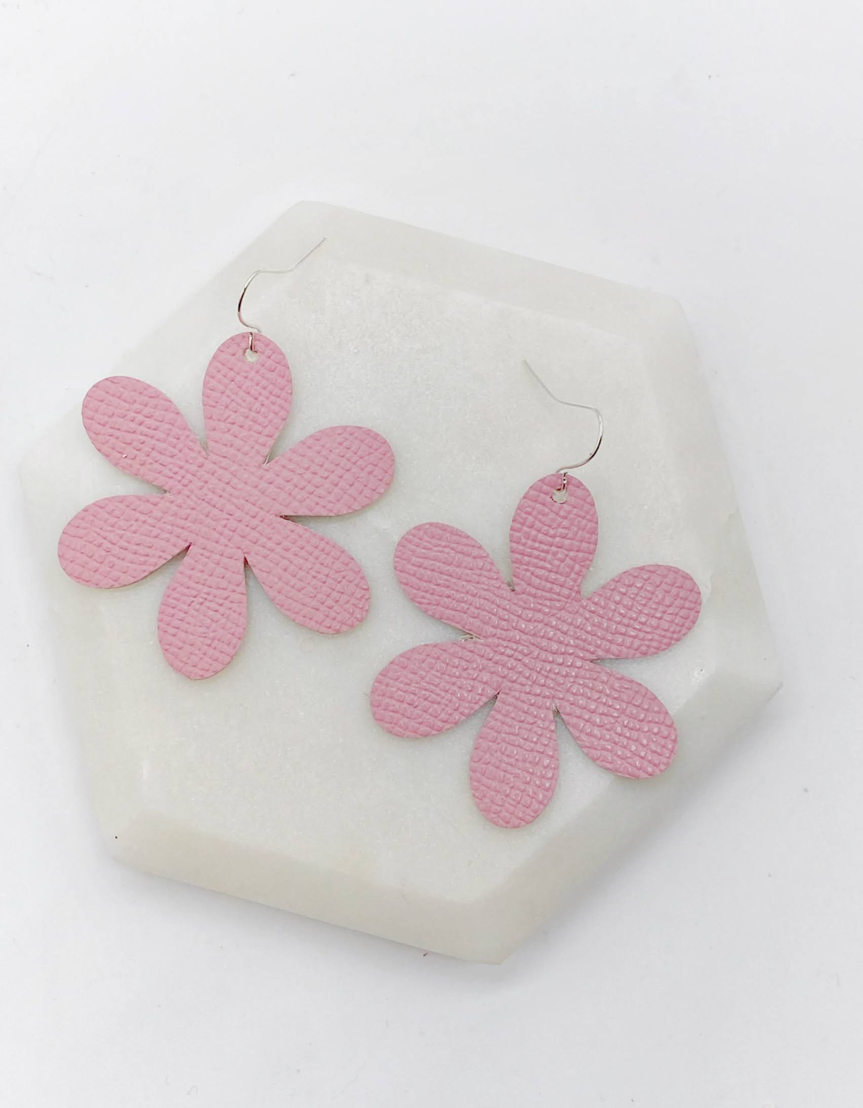 Pink Blossom Leather Earrings