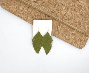 Olive Green Suede Leaf Fringe Earrings