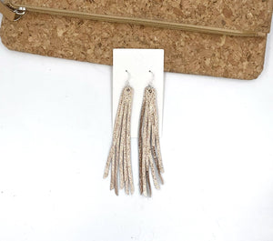 Rose Gold Long Fringe Leather Earrings