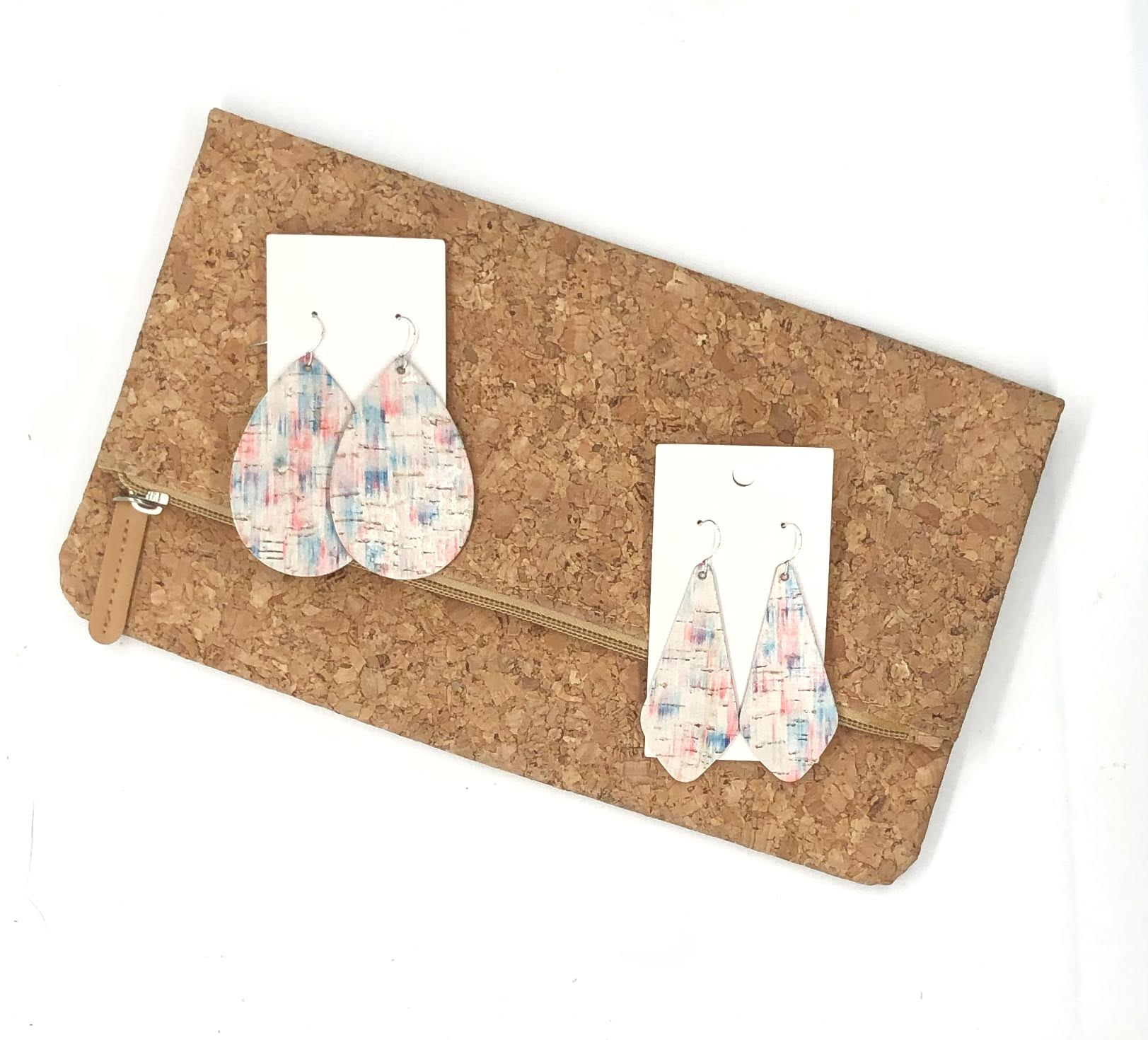 The Em Americana Brushstroke Cork Bonded to Leather Earrings