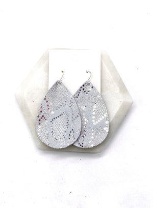 Silver Snakeskin Leather Earrings