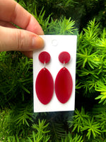 Berry Acrylic Marquis Earrings