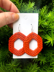 Orange Raffia Hex Earrings