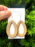 Cappuccino Raffia Teardrop Silhouette Earrings