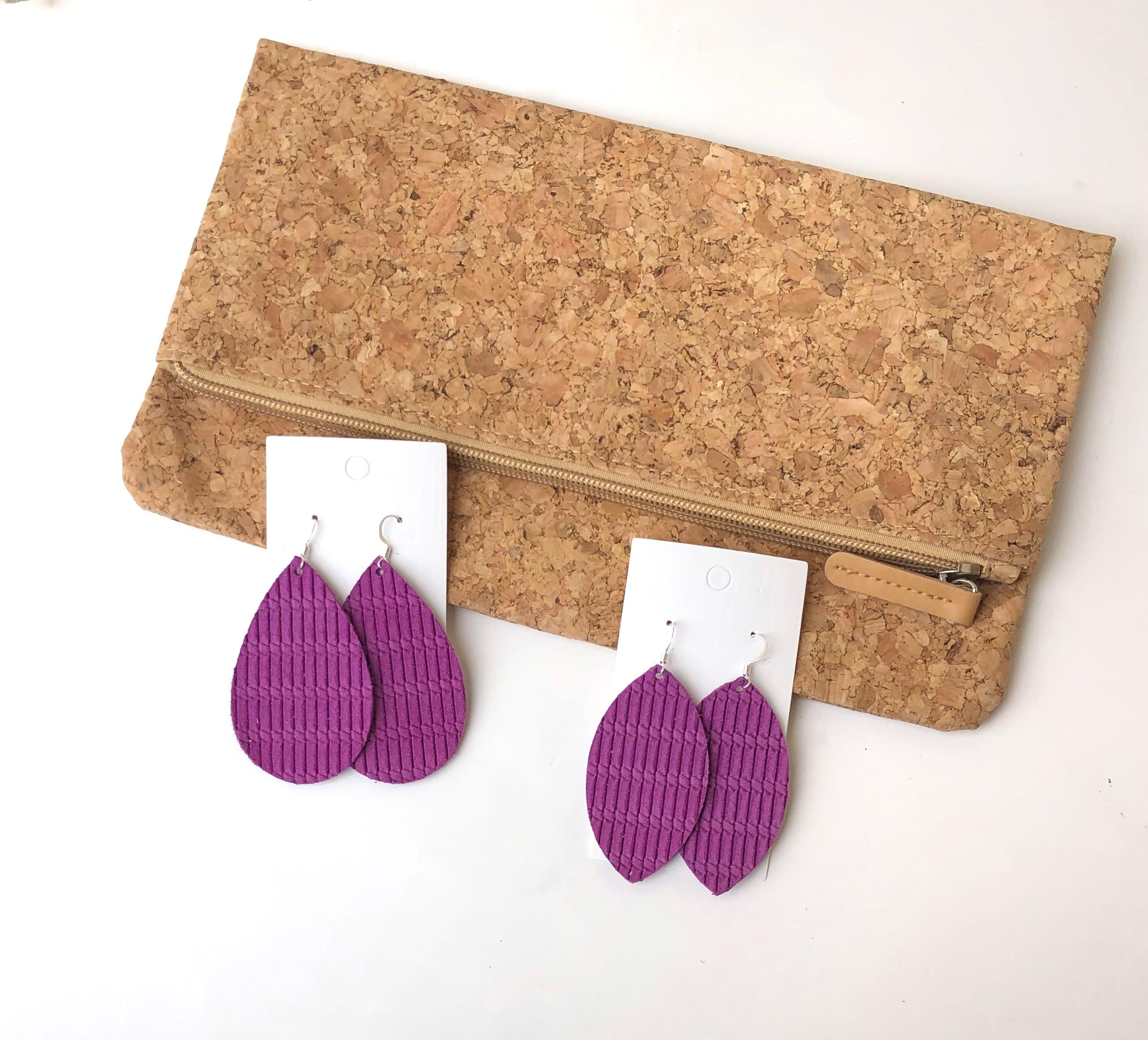 Magenta Twist Leather Marquis Earrings