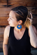 White Corkleather Circle Cutout Earrings