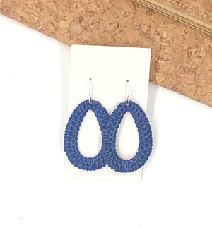 Royal Blue Raffia Teardrop Silhouette Earrings