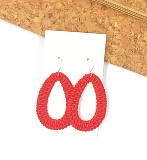 Red Raffia Teardrop Silhouette Earrings