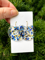 Blue and Gold Crescent Acrylic Earrings
