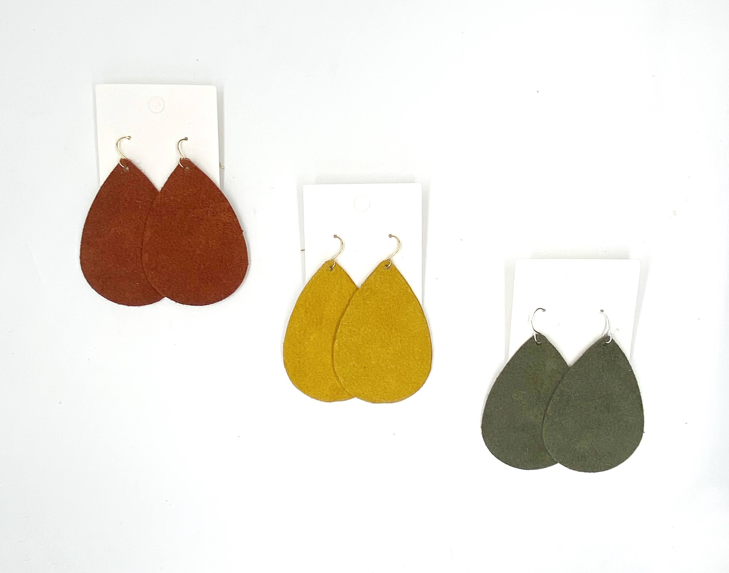 Rust Suede Leather Teardrop Earrings