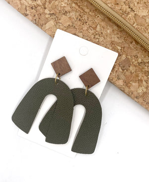 Olive Pebble Arch Earrings