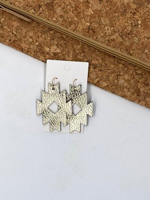 Gold Aztec Leather Earrings