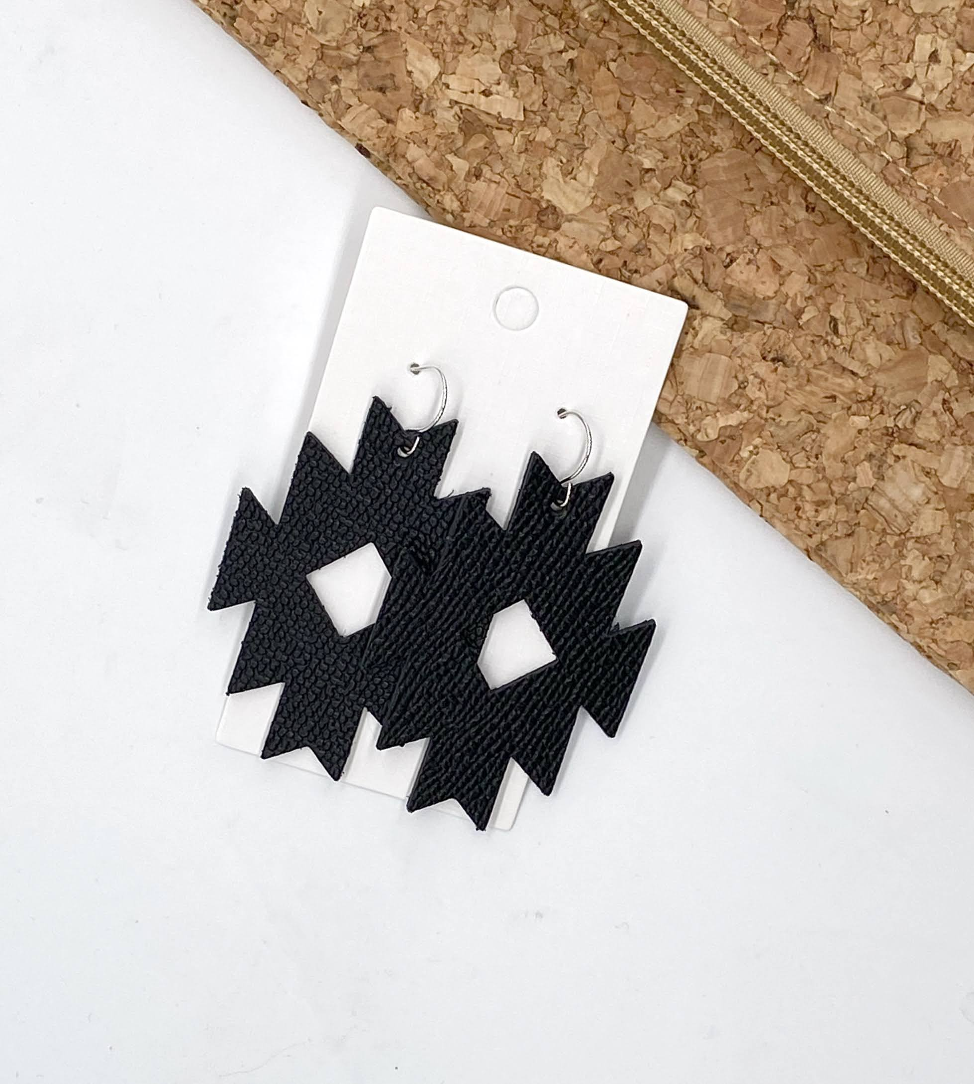 Black Aztec Leather Earrings