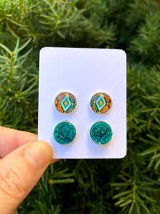 Teal Aztec Stud Set Earrings