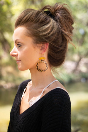 Leopard Acrylic Hoop Deco Earrings