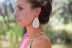 Silver White Chevron Teardrop Drop Earrings