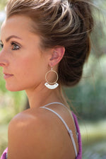 Silver Hoop Fan Earrings
