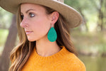Jade Green Diamond Textured Teardrop Earrings