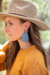 Chambray Ruffle  Teardrop Leather Earrings