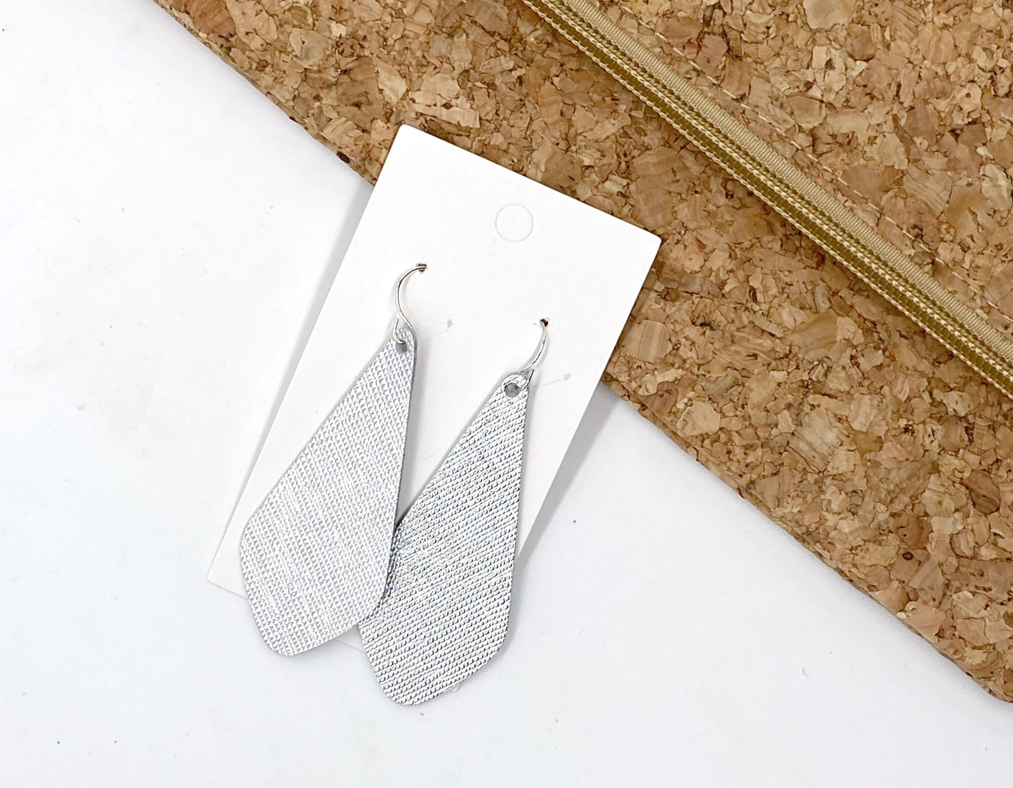 Silver Saffiano The Em Leather Earrings
