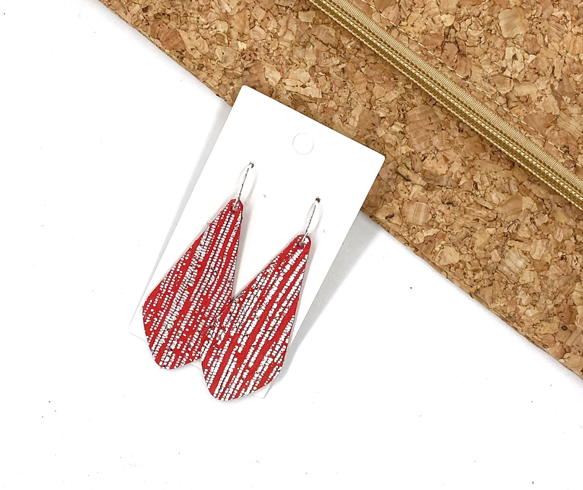 Red Silver The Em Leather Earrings