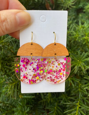 Pink Glitter Acrylic and Wood Deco Drops