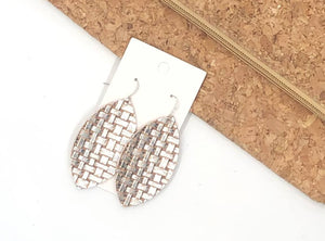 Silver Saddle Marquis Leather Earrings