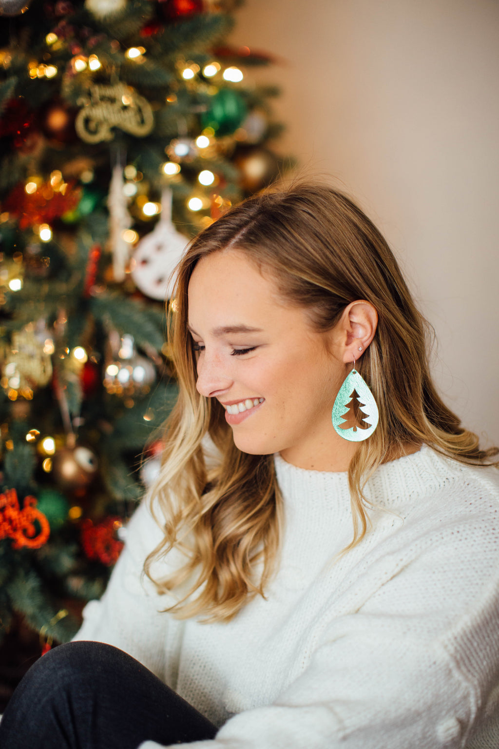 Green Christmas Tree Cutout Earrings