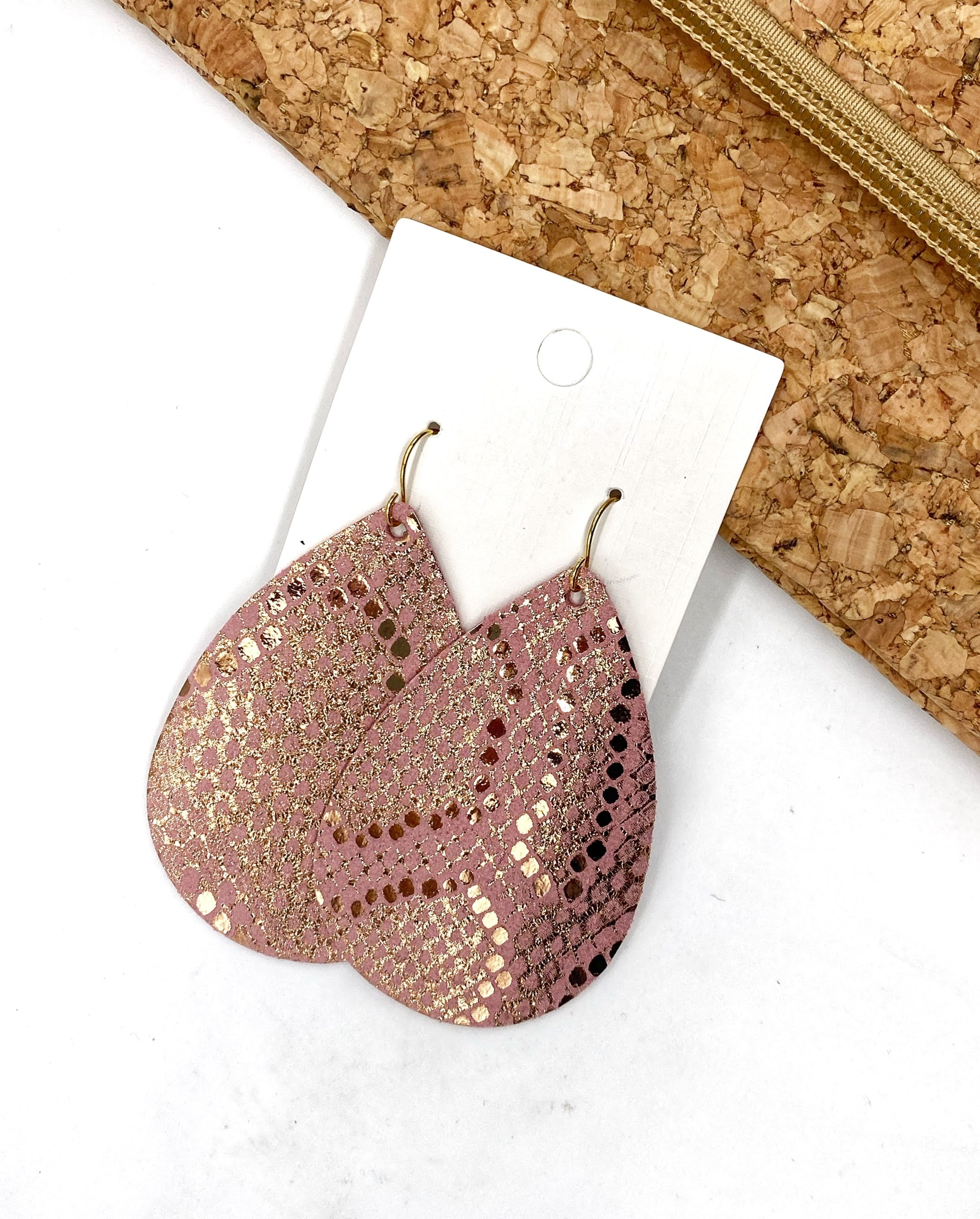 Pink Shimmer Snakeskin Leather Teardrop Earrings