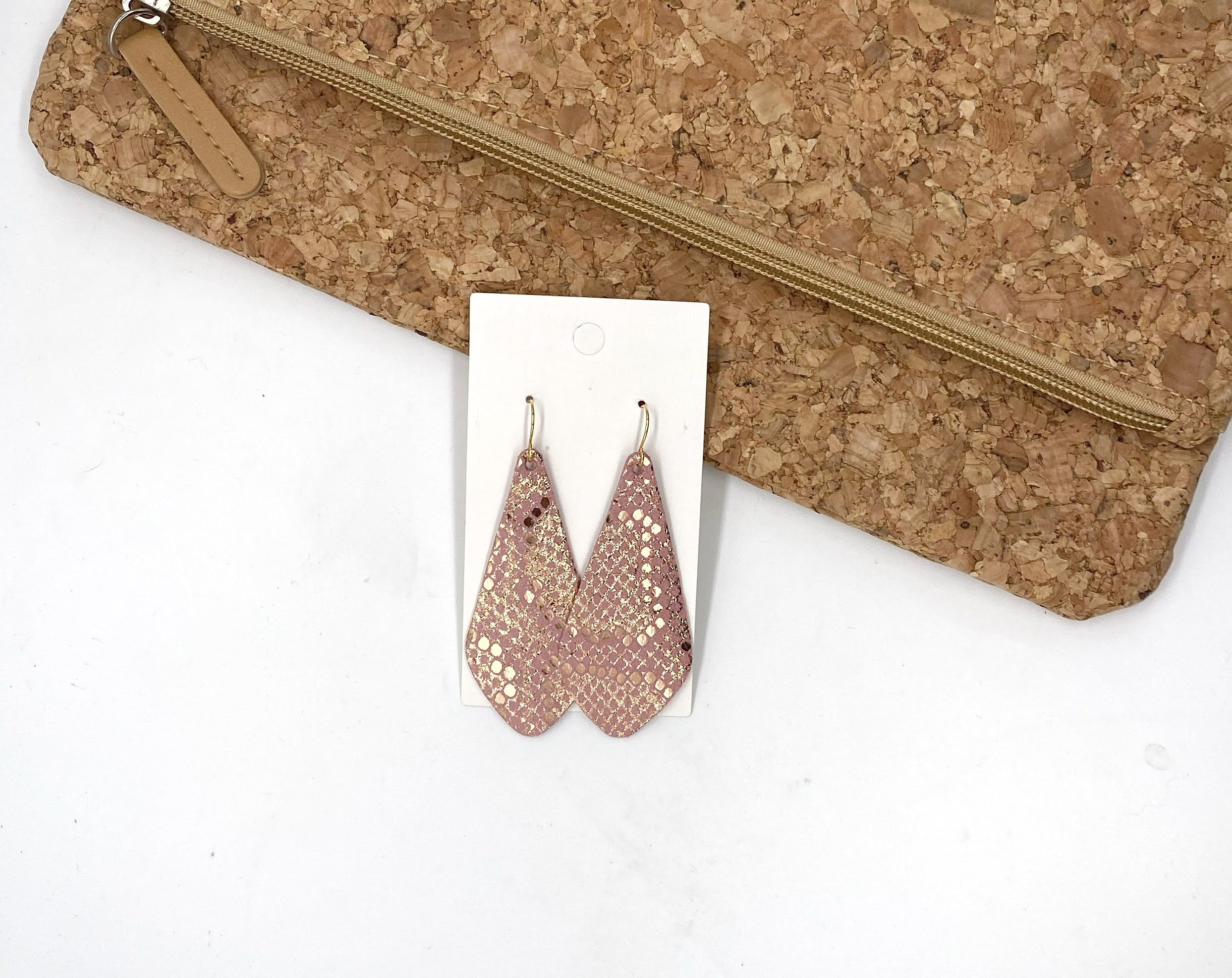 Pink Shimmer Snakeskin The Em Leather Earrings