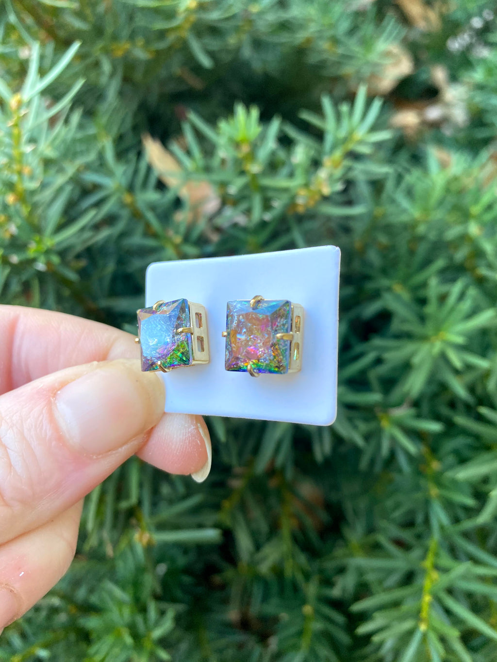 Multicolor Gem Square Stud Earrings