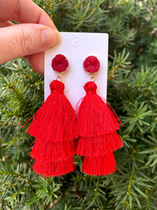 Red Druzy Tassel Earrings