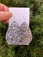 Silver Glitter Teardrop Earrings