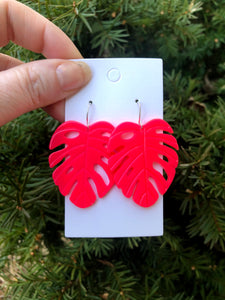 Hot Pink Monstera Acrylic Earrings