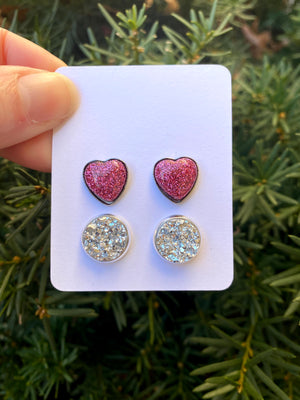 Hot Pink Heart Stud Set Earrings