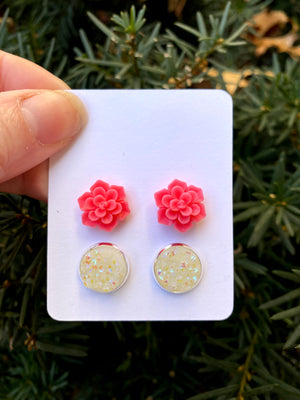 Hot Pink Flower Stud Set Earrings