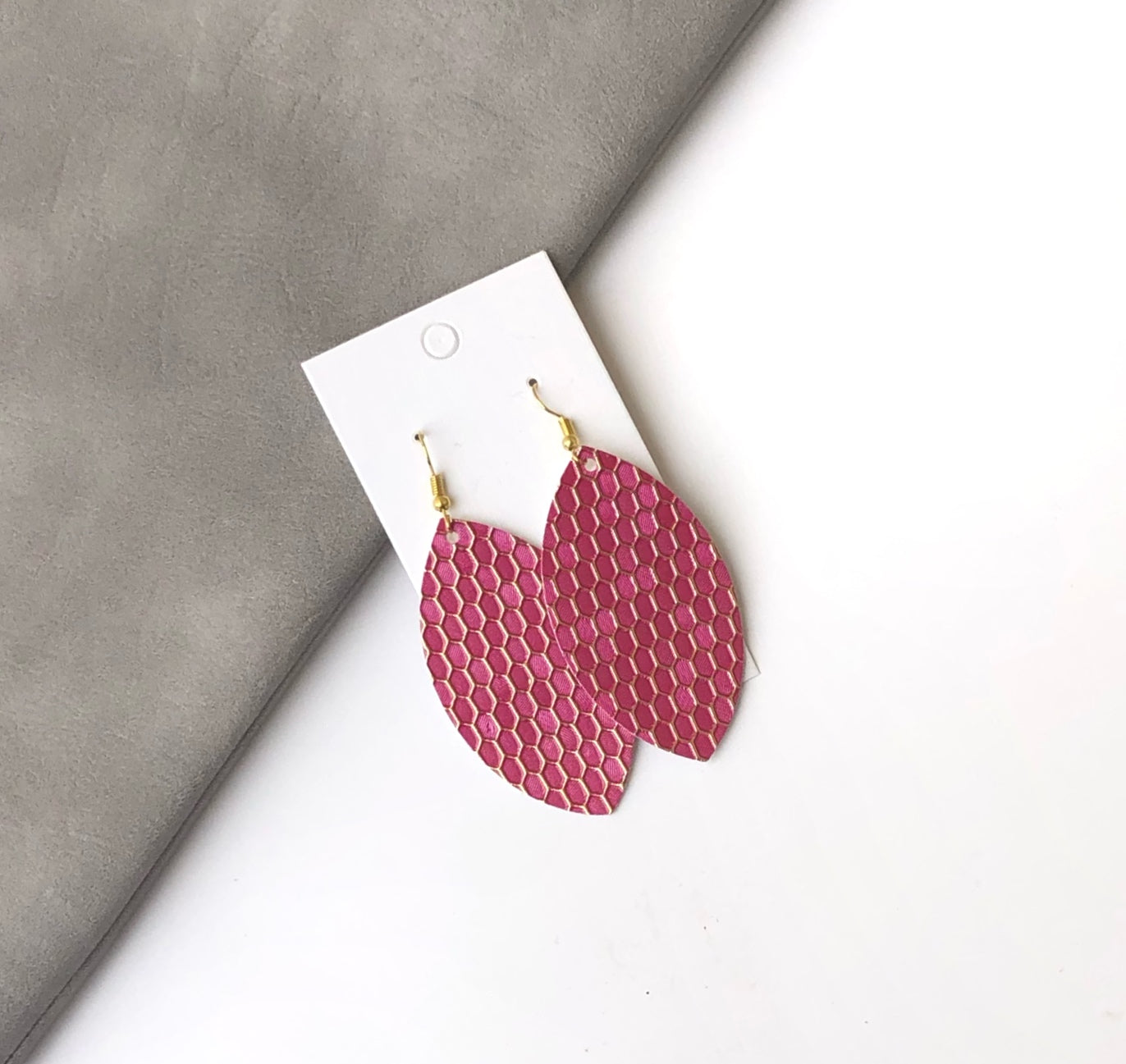 Pink Hexagon Faux Leather Marquis Earrings