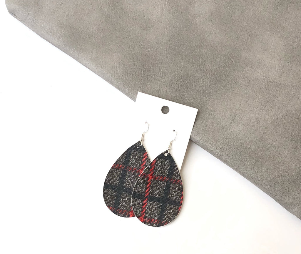 Black and Red Plaid Faux Leather Teardrop Drop Earrings