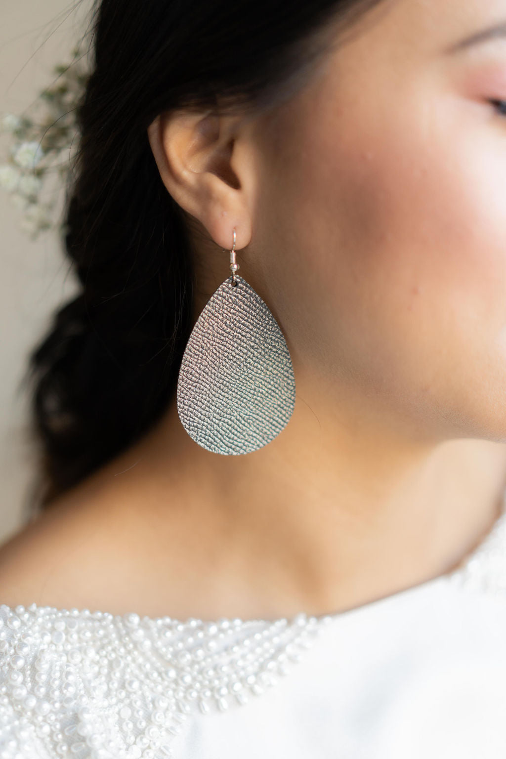 Gunmetal Gray Saffiano Leather Teardrop Earrings