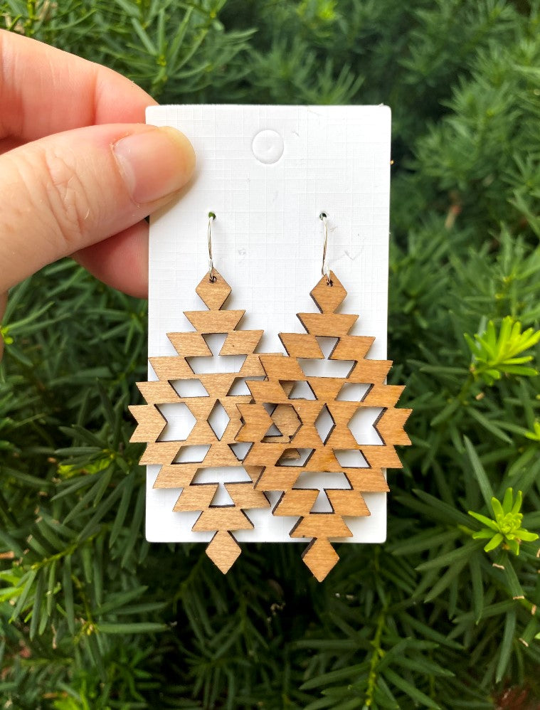 Wood Aztec Earrings
