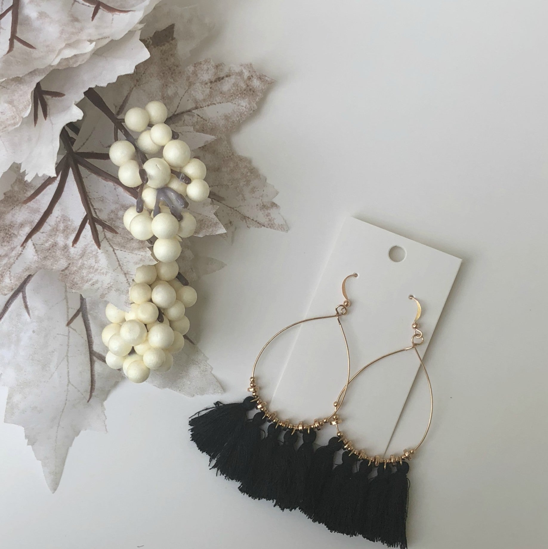 Black Teardrop Tassel Earrings