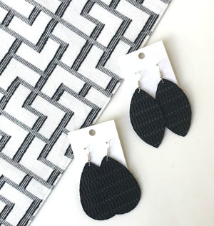 Black Twist Marquis Leather Earrings