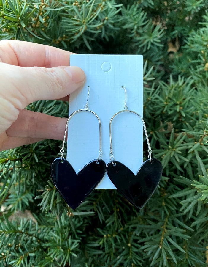 Black Acrylic Heart Swing