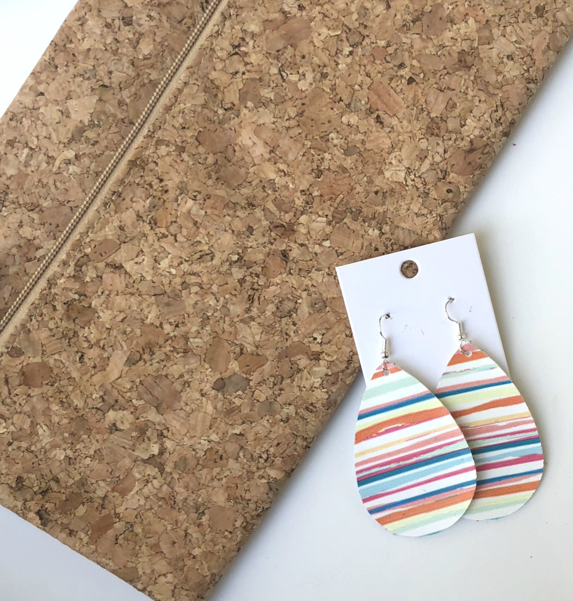 Bright Stripe Faux Leather Teardrop Earrings